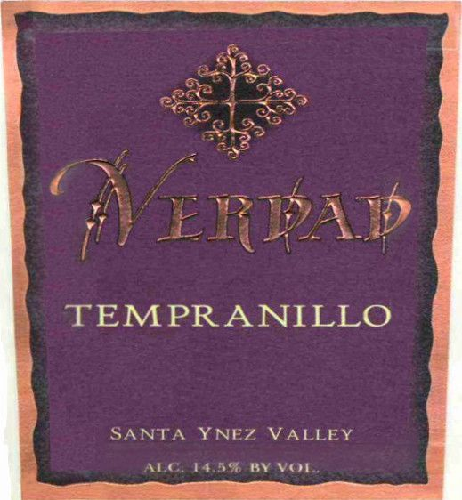 Verdad Santa Ynez Valley Tempranillo 2007  Front Label