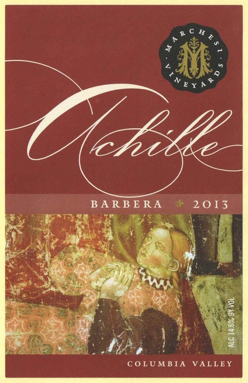 Marchesi Vineyards Achille Barbera 2013  Front Label