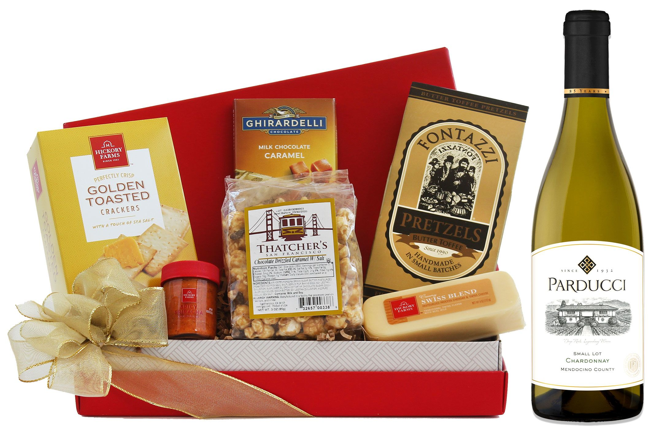 wine.com Chardonnay & Tempting Treats Gift Basket  Gift Product Image