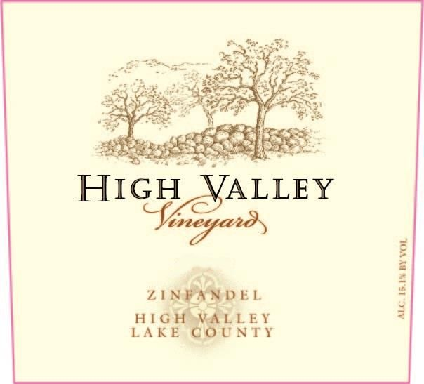 High Valley Vineyards Zinfandel 2017 Front Label