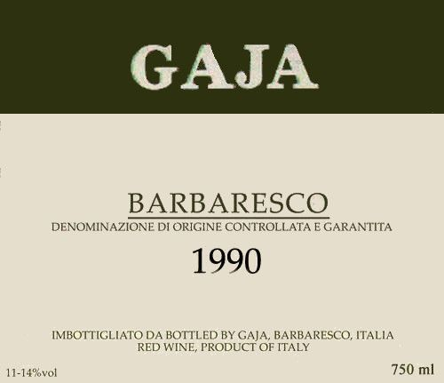 Gaja Barbaresco 1990  Front Label