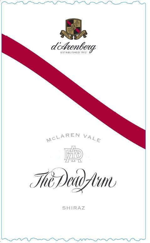 d'Arenberg The Dead Arm Shiraz 2016  Front Label