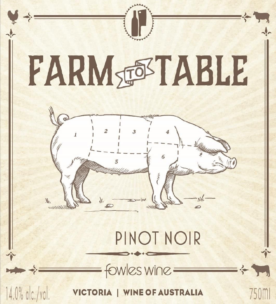 Fowles Wine Farm to Table Pinot Noir 2018  Front Label