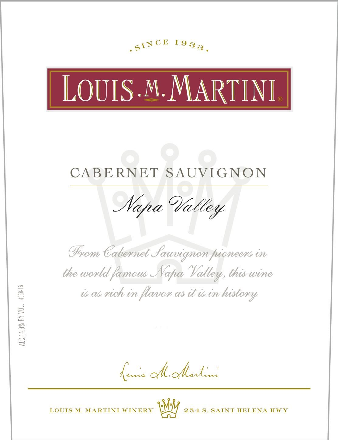 Louis Martini Napa Valley Cabernet Sauvignon 2017  Front Label