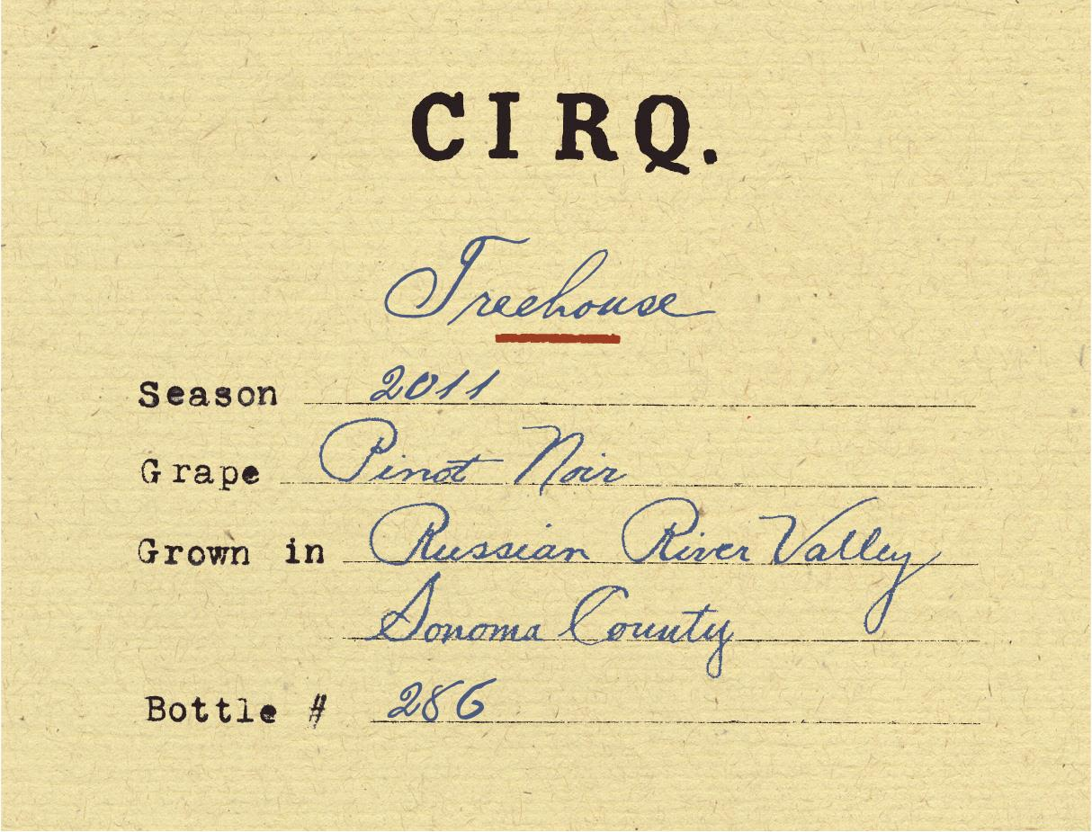 Cirq Treehouse Pinot Noir 2011  Front Label