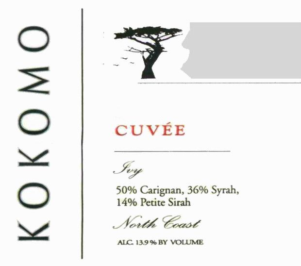 Kokomo Wines Cuvee Red 2010  Front Label