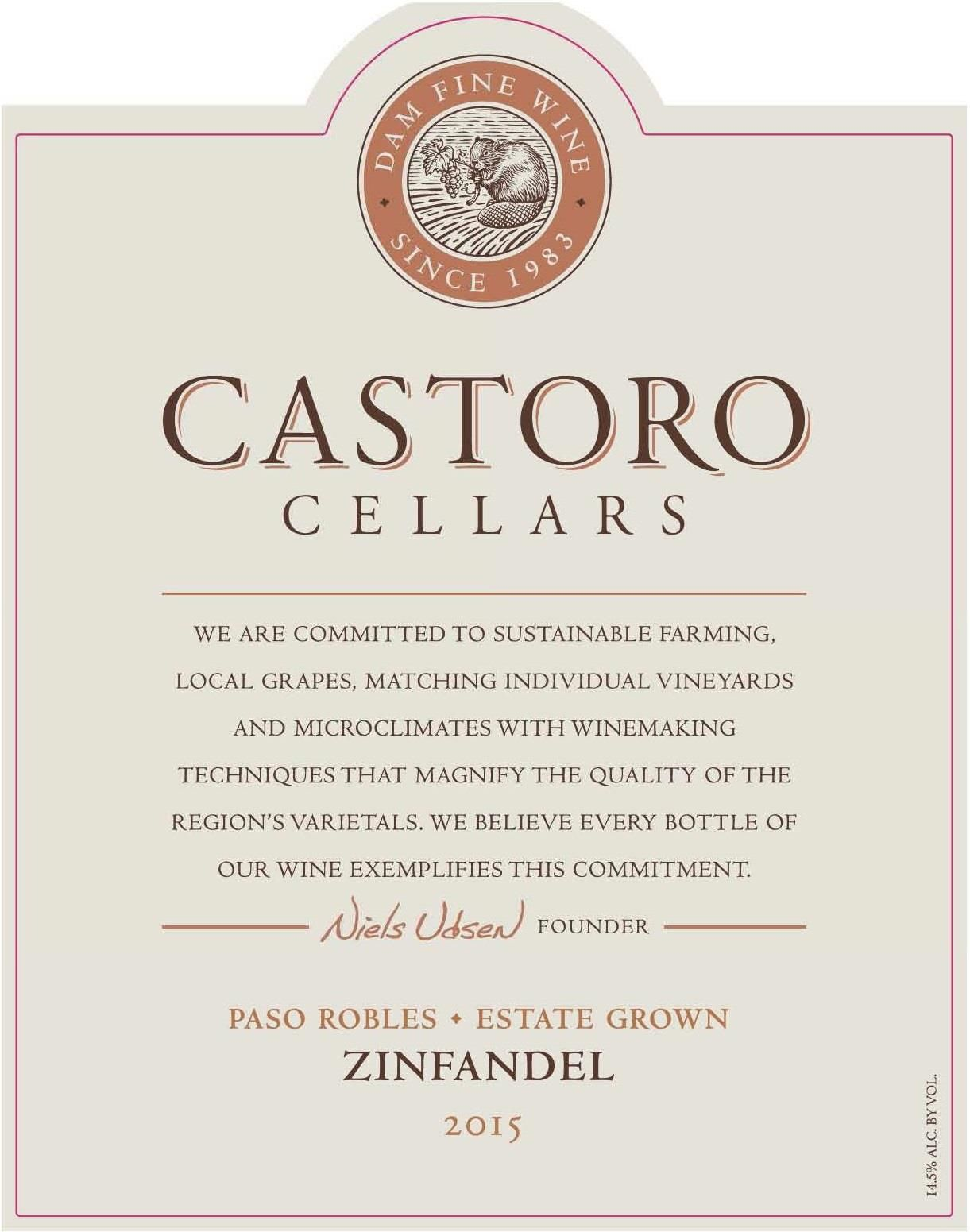 Castoro Cellars Zinfandel 2015  Front Label