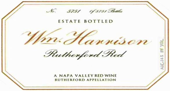William Harrison Rutherford Red 2009  Front Label