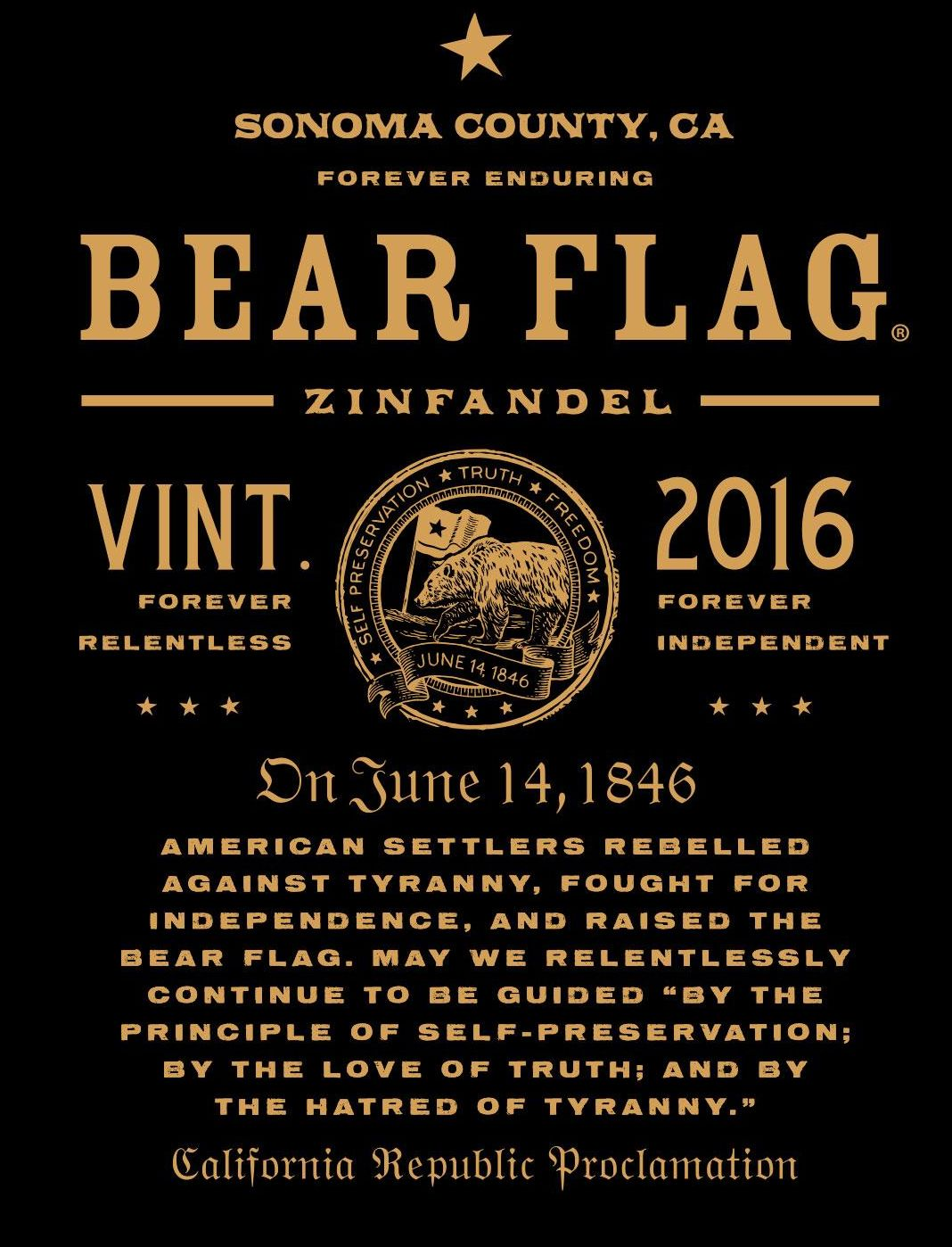 Bear Flag Zinfandel 2016 Front Label
