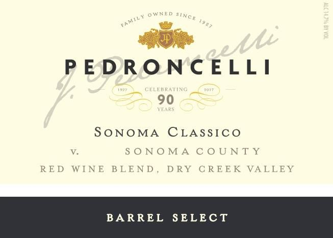 Pedroncelli Sonoma Classico Red Blend 2016  Front Label