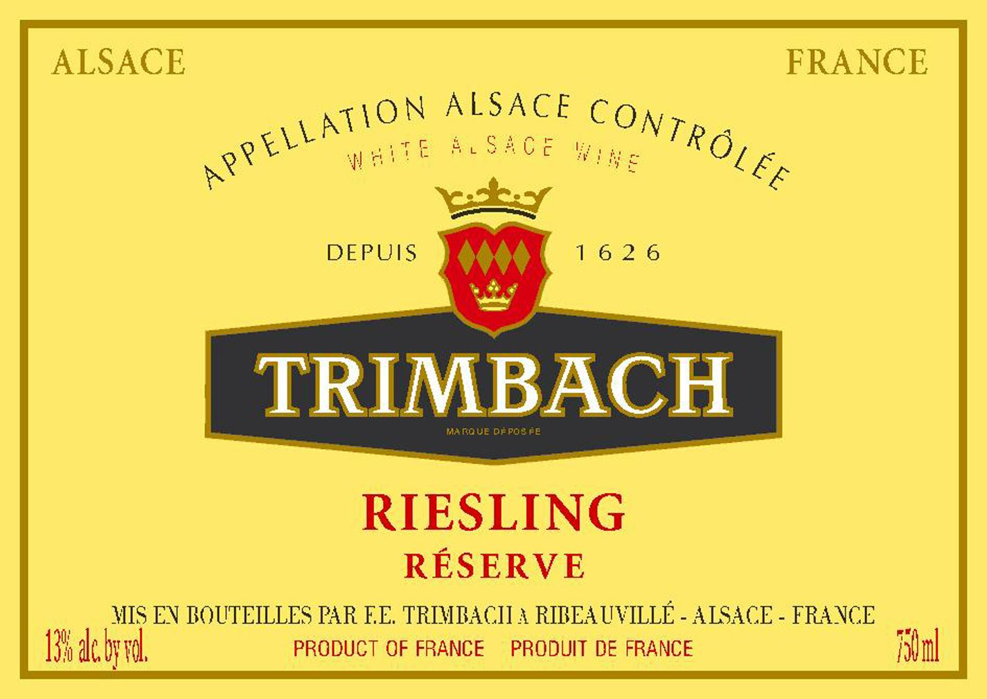 Trimbach Reserve Riesling 2017  Front Label