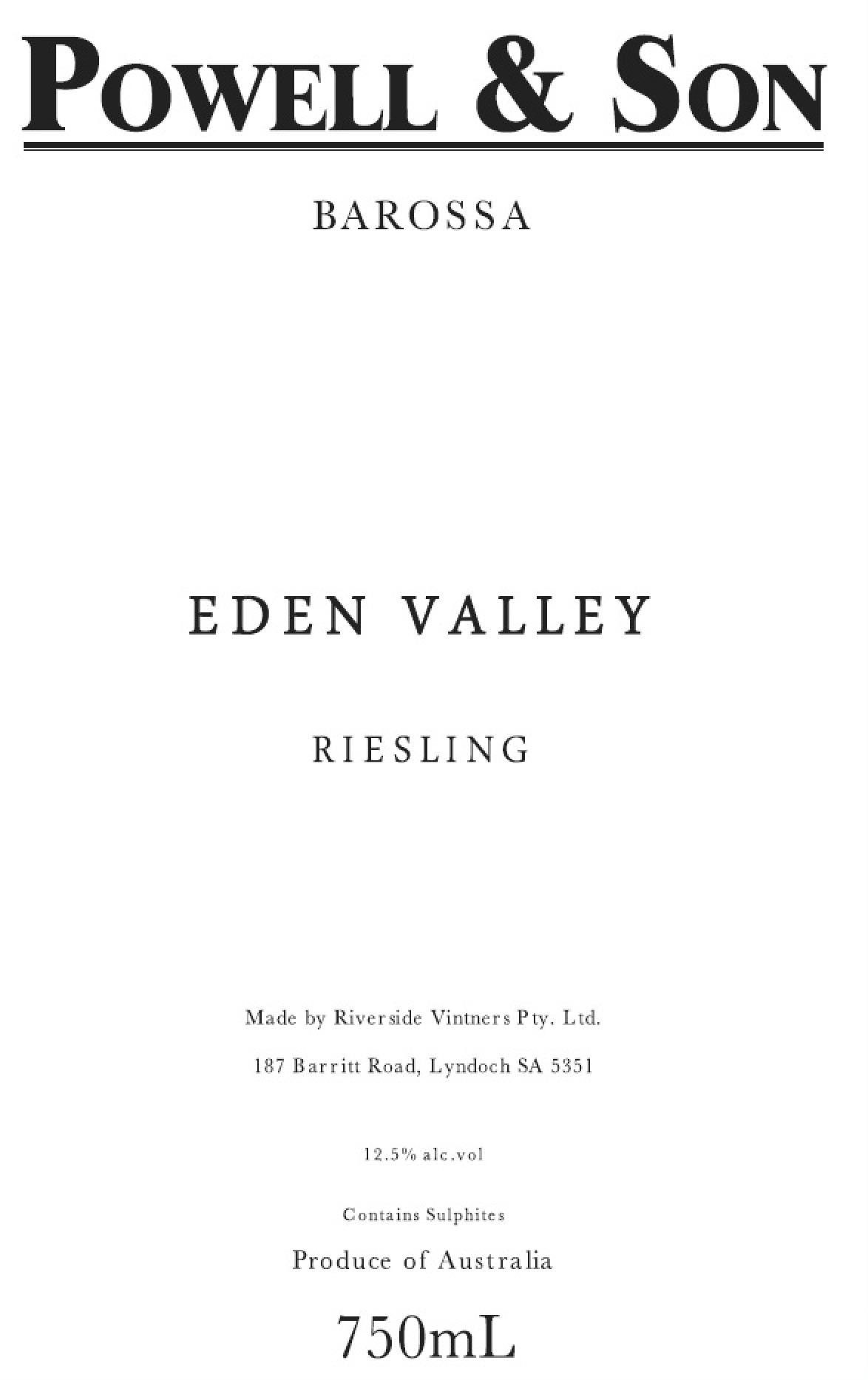 Powell & Son Eden Valley Riesling 2018  Front Label