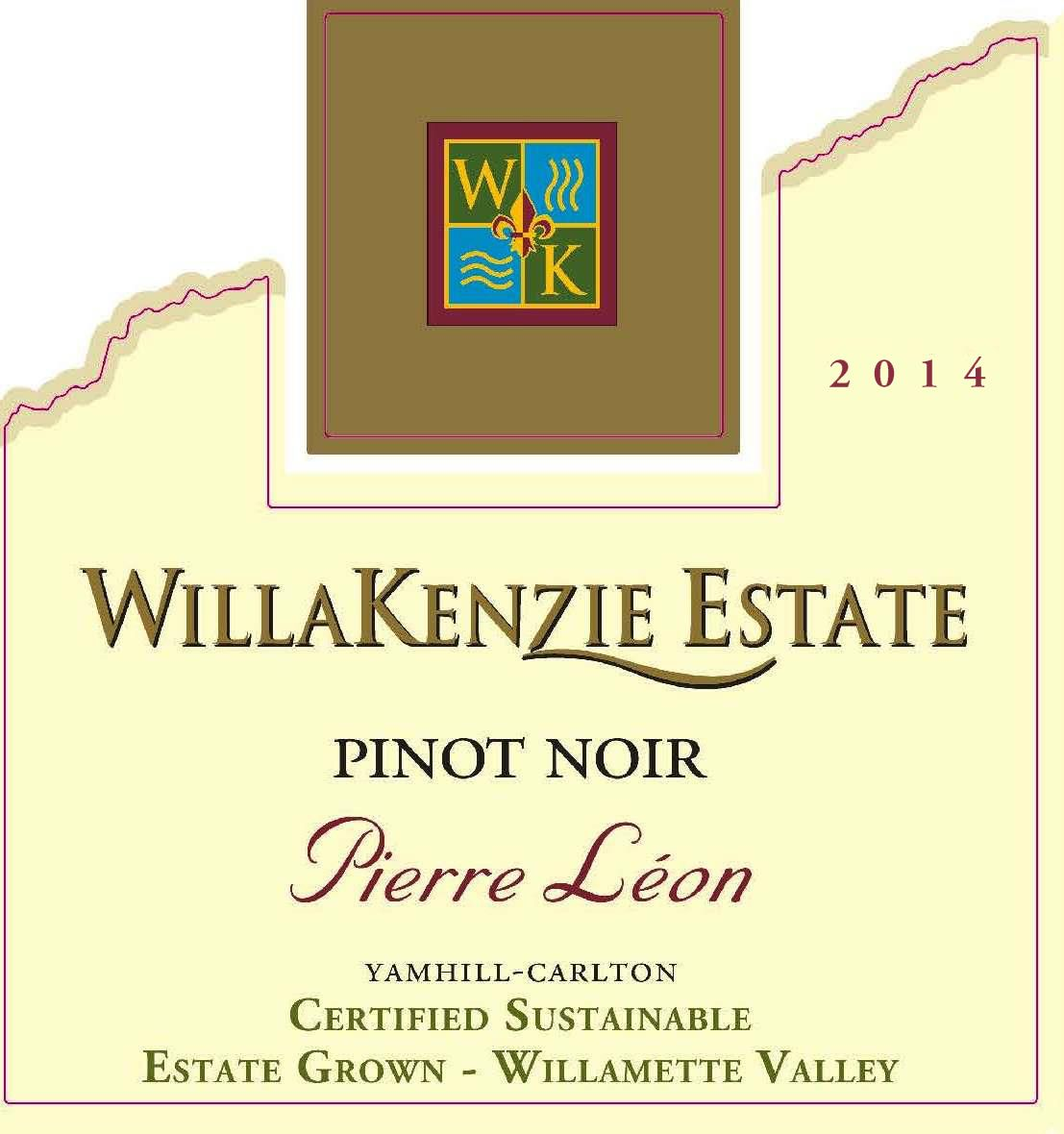 WillaKenzie Estate Pierre Leon Pinot Noir 2014  Front Label