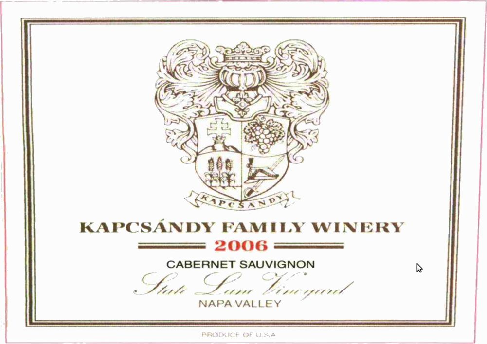 Kapcsandy Family Winery State Lane Cabernet Sauvignon (scuffed label - 1.5 Liter Magnum) 2006  Front Label