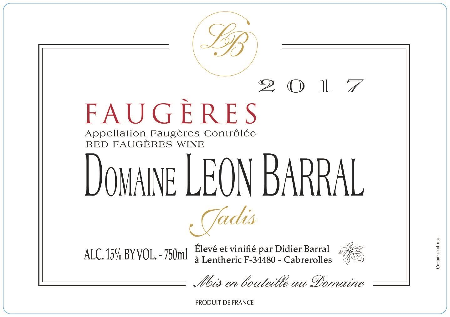 Domaine Leon Barral Faugeres 2017  Front Label