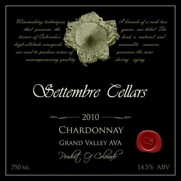 Settembre Cellars Chardonnay 2010 Front Label