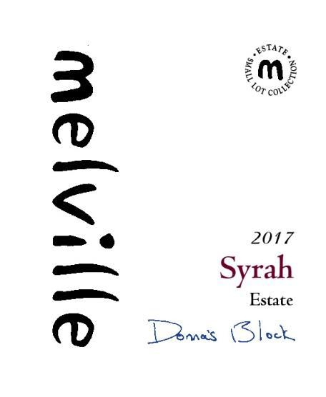 Melville Donna's Syrah 2017  Front Label
