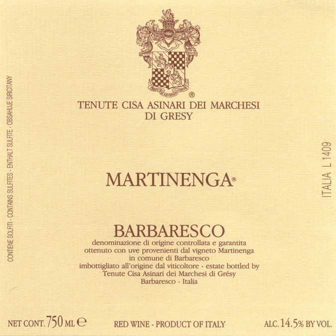 Marchesi di Gresy Barbaresco Martinenga 2017  Front Label