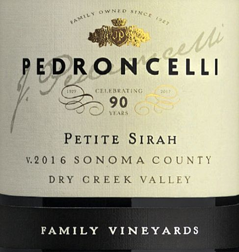 Pedroncelli Family Vineyard Petite Sirah 2016  Front Label