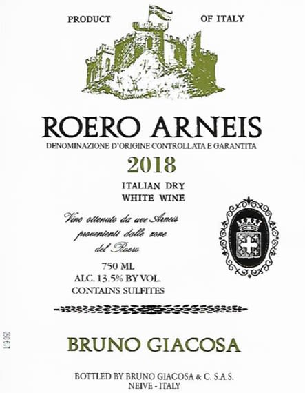 Bruno Giacosa Roero Arneis 2018  Front Label