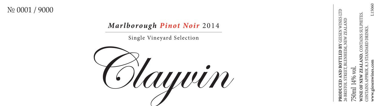 Giesen Clayvin Single Vineyard Pinot Noir 2014  Front Label