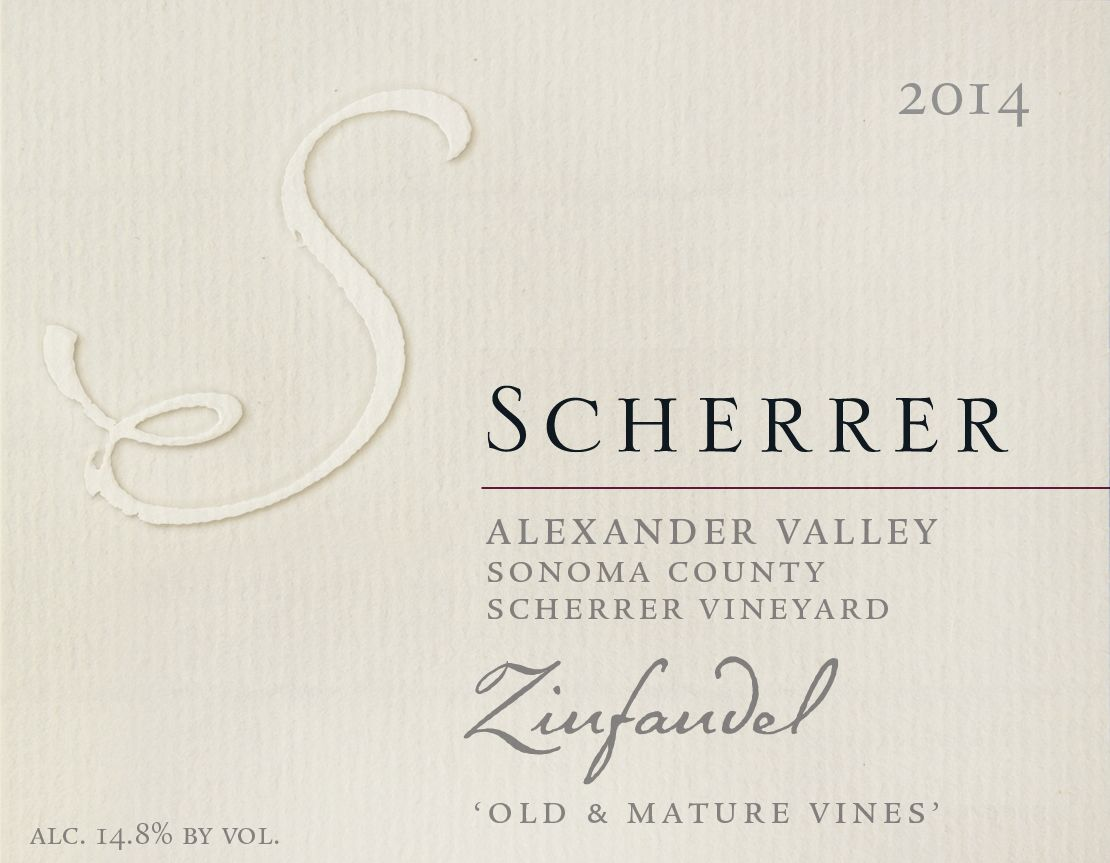 Scherrer Winery Scherrer Vineyard Old & Mature Vines Zinfandel 2014  Front Label