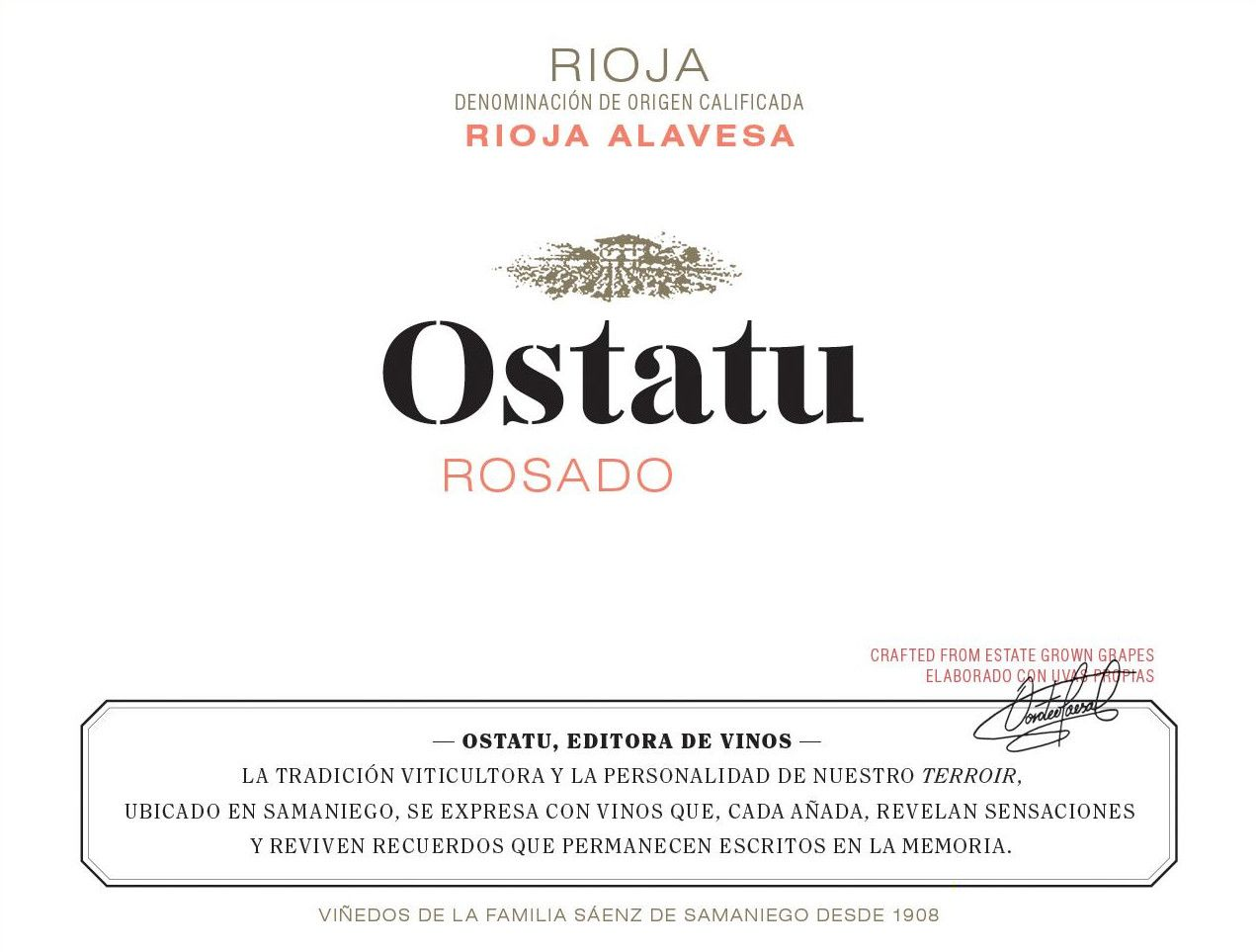 Ostatu Rioja Rose 2018 Front Label