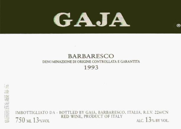 Gaja Barbaresco 1993 Front Label