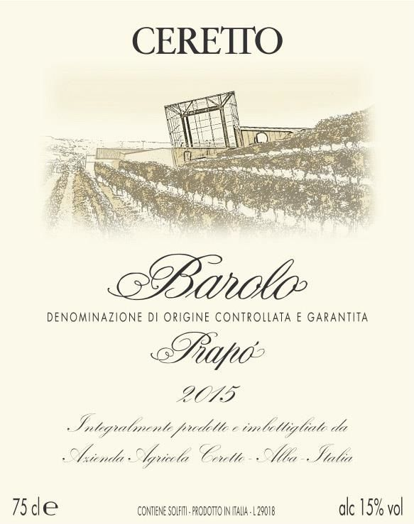 Ceretto Prapo Barolo 2015  Front Label