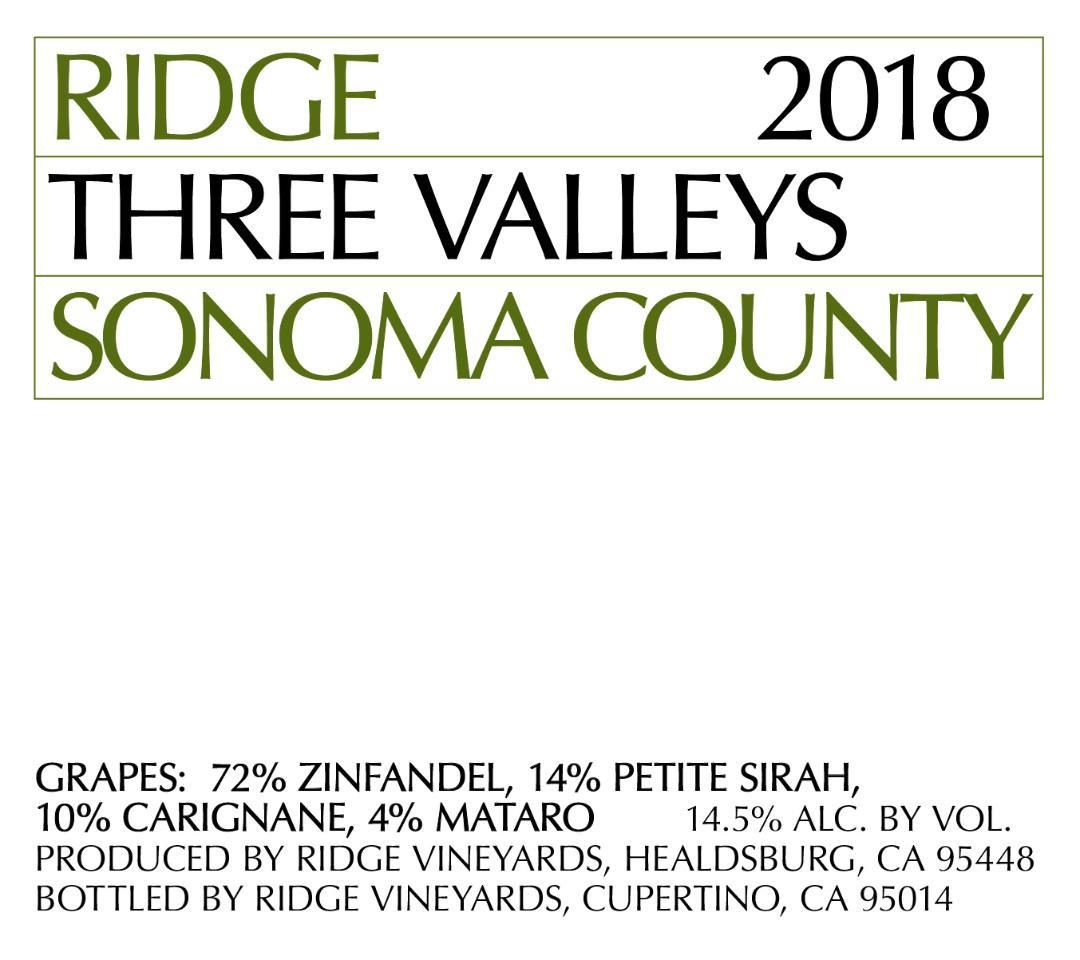 Ridge Three Valleys Red 2018  Front Label