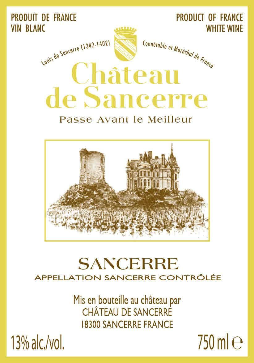 Chateau de Sancerre Blanc 2018  Front Label