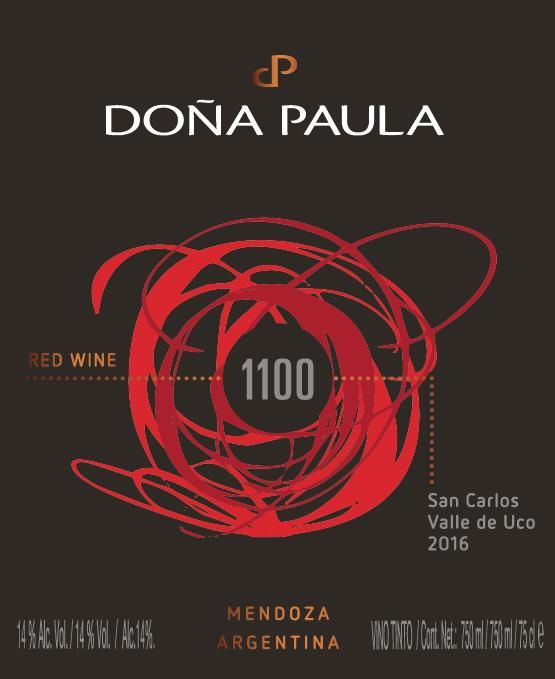 Dona Paula 1100 Red 2016  Front Label