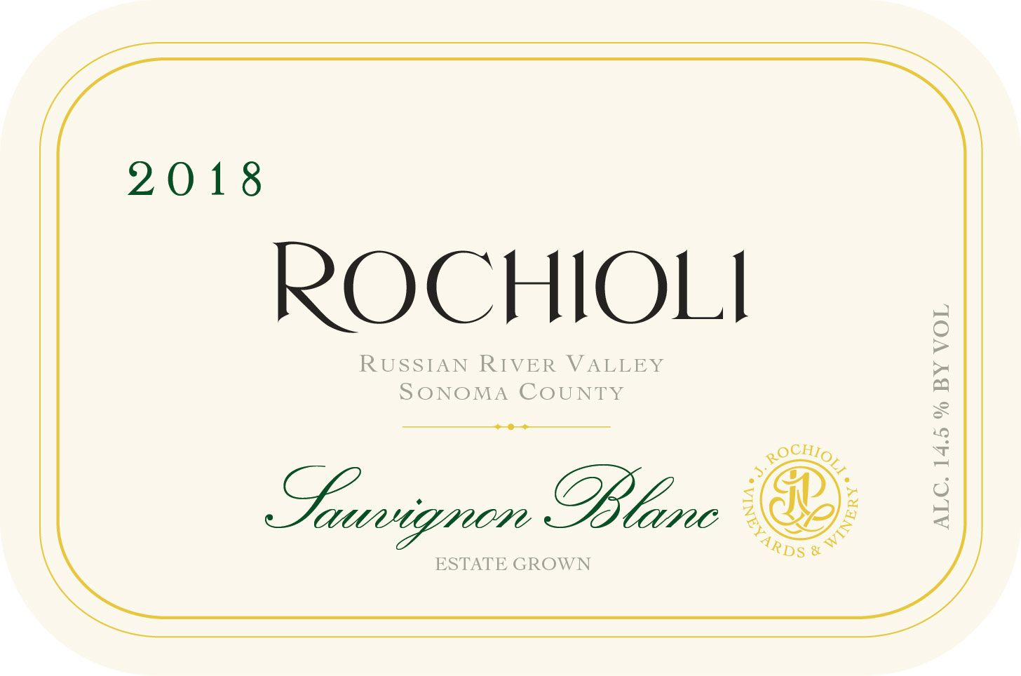 Rochioli Estate Sauvignon Blanc 2018  Front Label