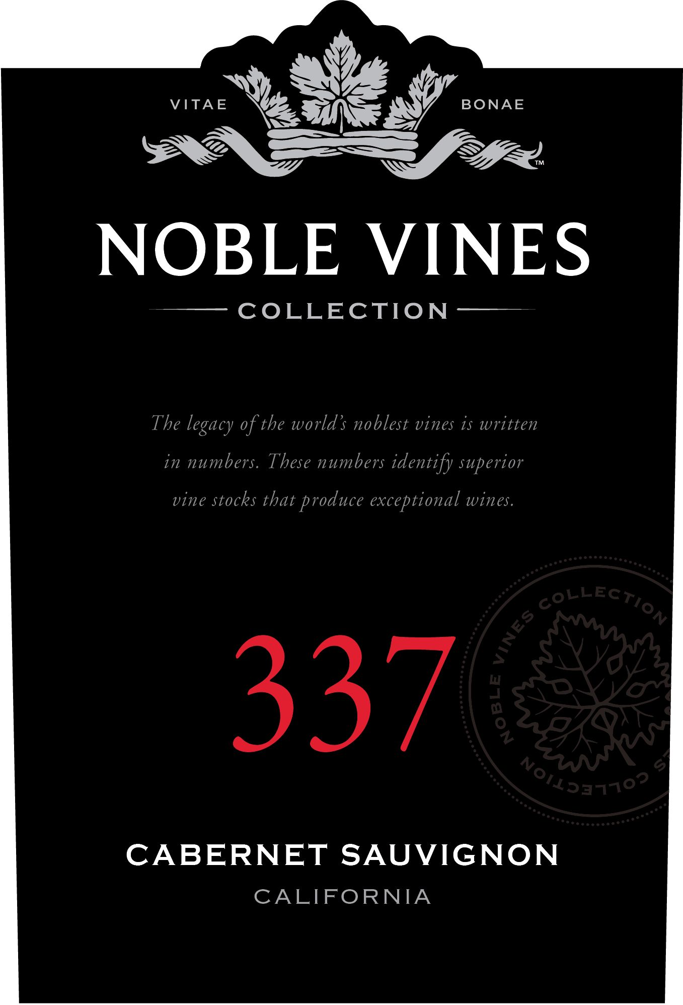Noble Vines 337 Lodi Cabernet Sauvignon 2017  Front Label
