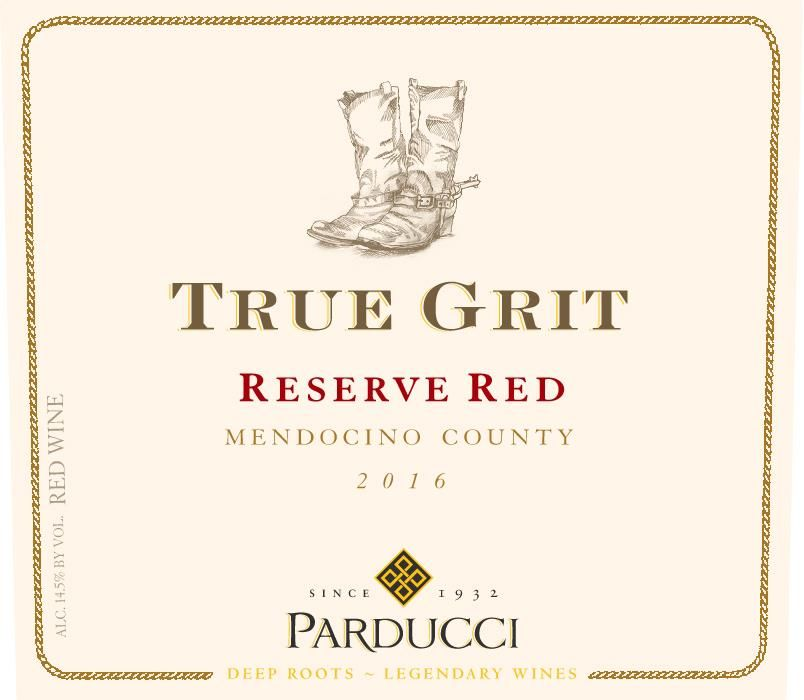 Parducci True Grit Reserve Red Blend 2016 Front Label