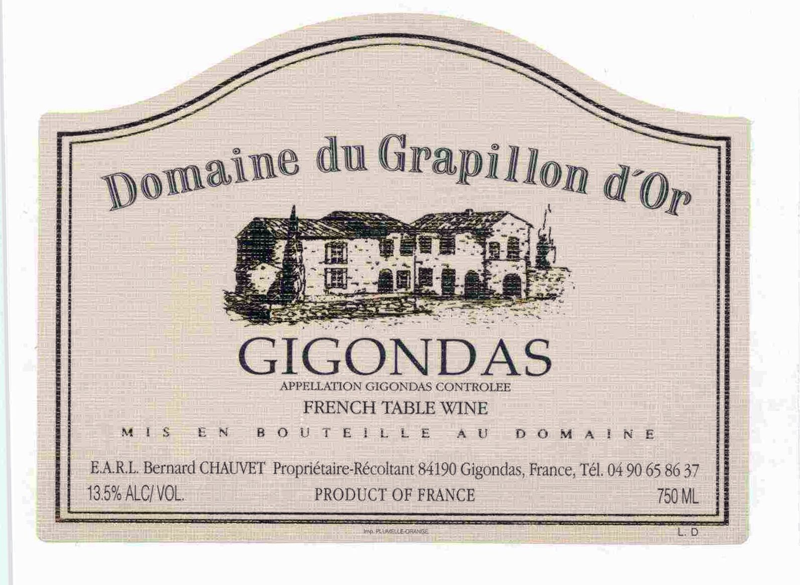 Dom. Du Grapillon d'Or Gigondas (bin soiled labels) 1998  Front Label