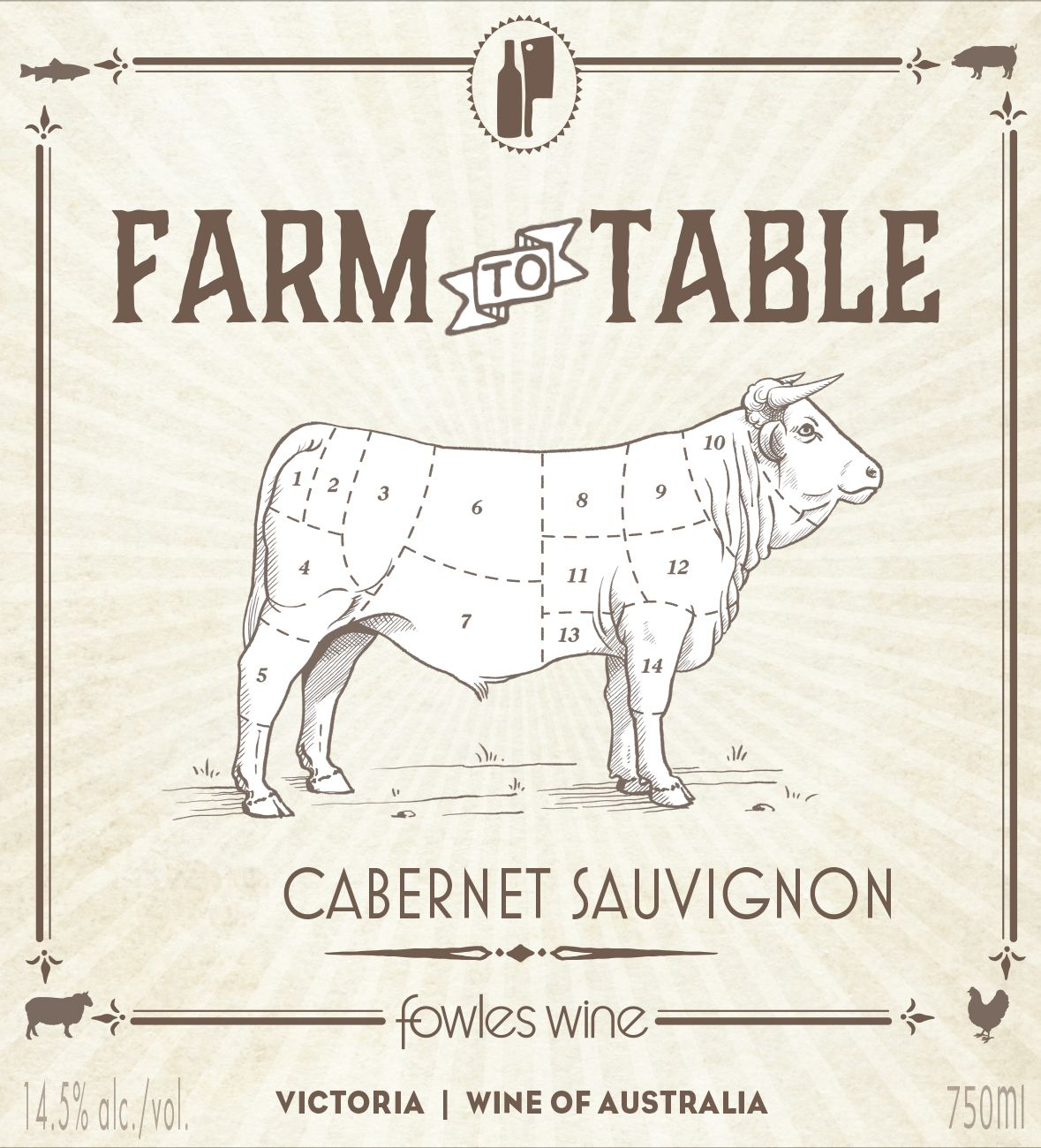 Fowles Wine Farm to Table Cabernet Sauvignon 2017  Front Label