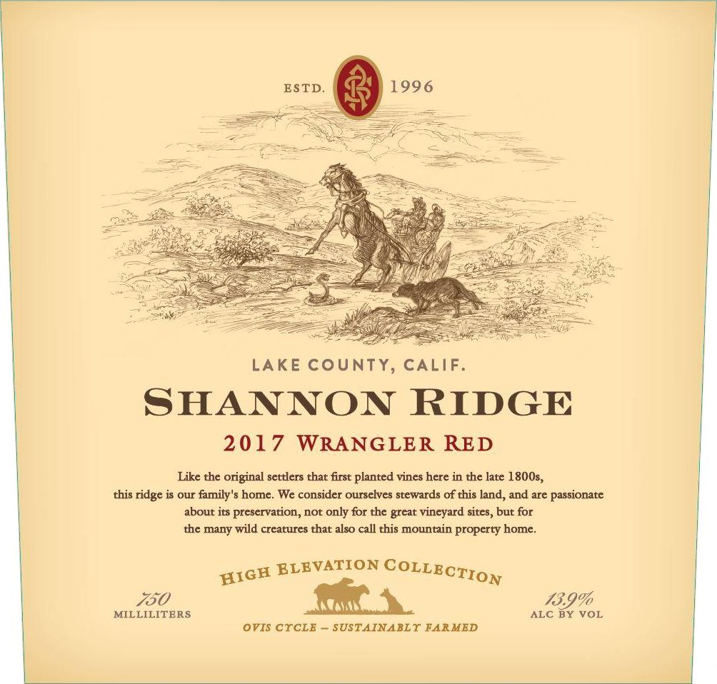 Shannon Ridge Wrangler Red 2017 Front Label