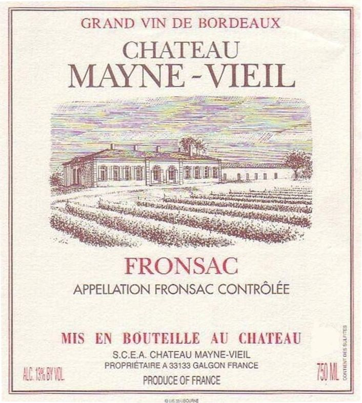 Chateau Mayne Vieil  2015 Front Label