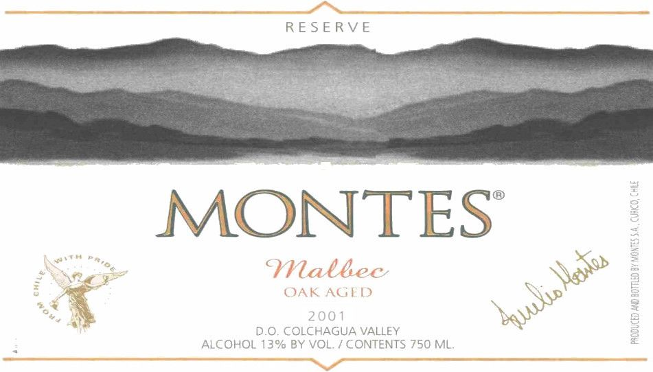 Montes Reserve Malbec 2001  Front Label