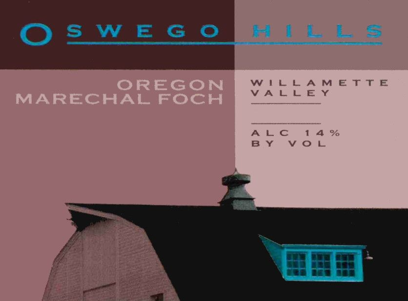 Oswego Hills Winery Marechal Foch 2014  Front Label