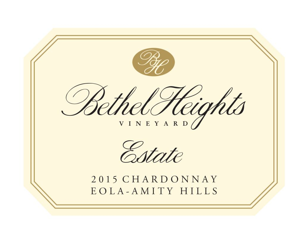 Bethel Heights Estate Grown Chardonnay 2015 Front Label
