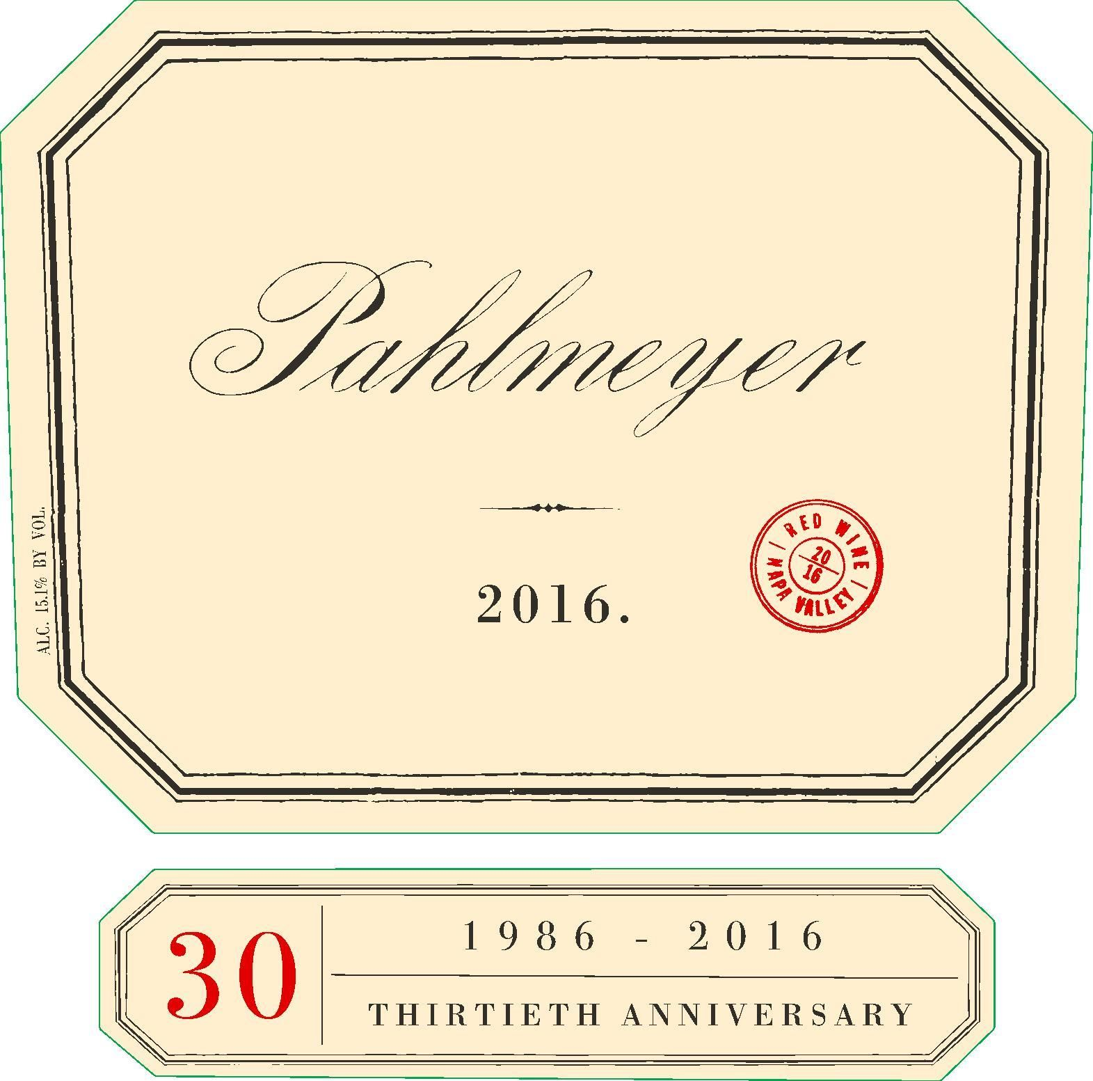 Pahlmeyer Napa Valley Proprietary Red (1.5 Liter Magnum) 2016  Front Label