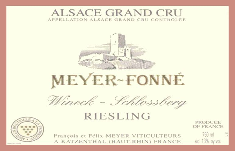 Meyer-Fonne Wineck-Schlossberg Grand Cru Riesling 2015 Front Label