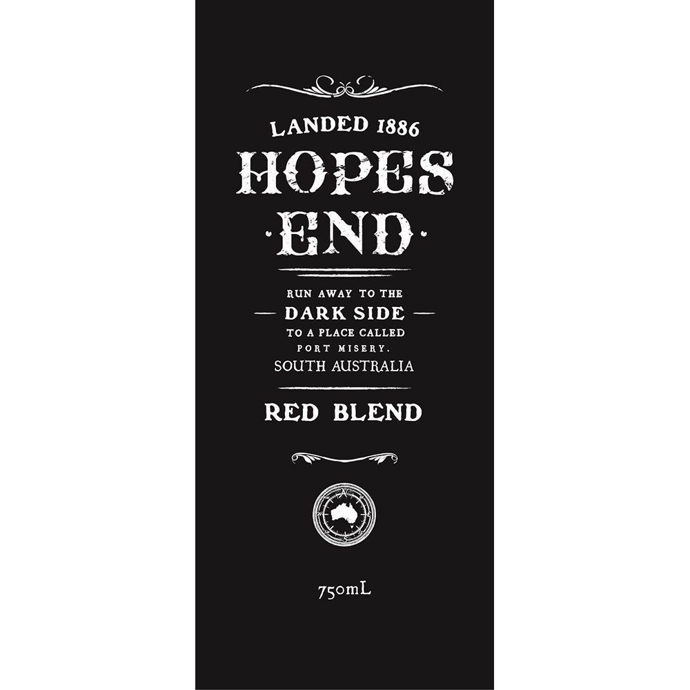 Hopes End Red Blend 2018  Front Label