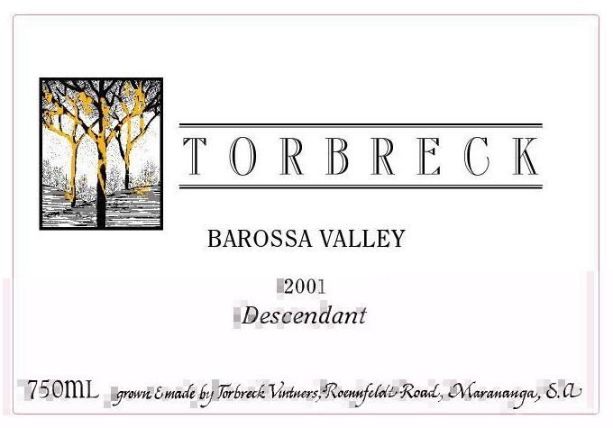 Torbreck Descendant Shiraz 2001  Front Label