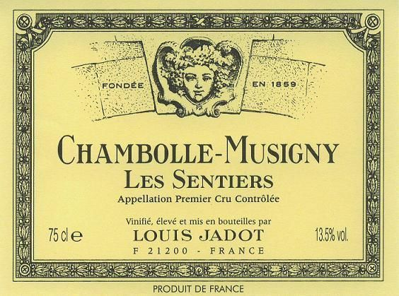 Louis Jadot Chambolle-Musigny Les Sentiers Premier Cru 2016  Front Label