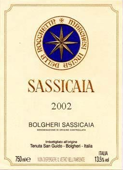 Tenuta San Guido Sassicaia (stained labels) 2000  Front Label