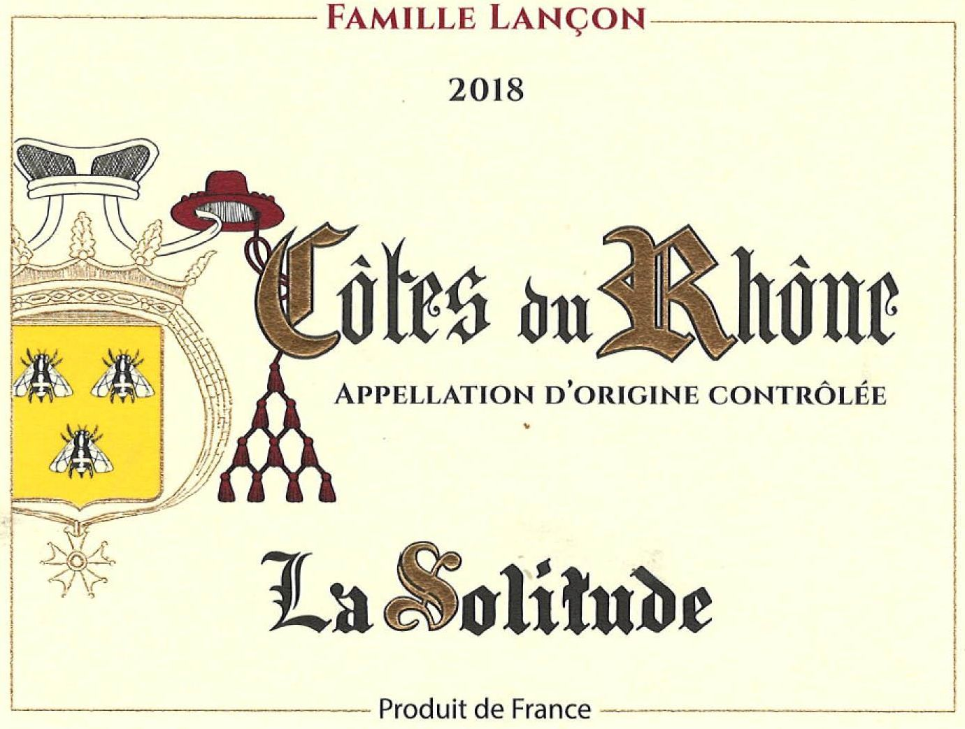 Domaine de la Solitude Cotes Du Rhone Red 2018  Front Label