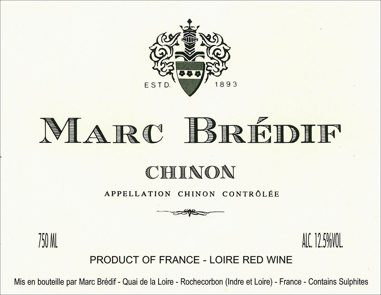 Marc Bredif Chinon 2018  Front Label